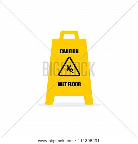 Yellow Wet Floor Sign. Flat vector icon.