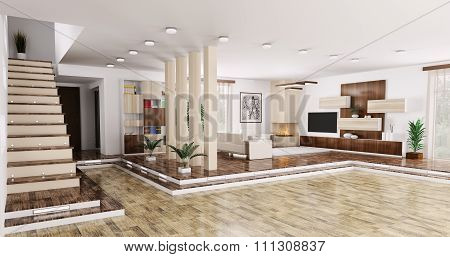 Interior of modern apartment living room hall panorama 3d render poster