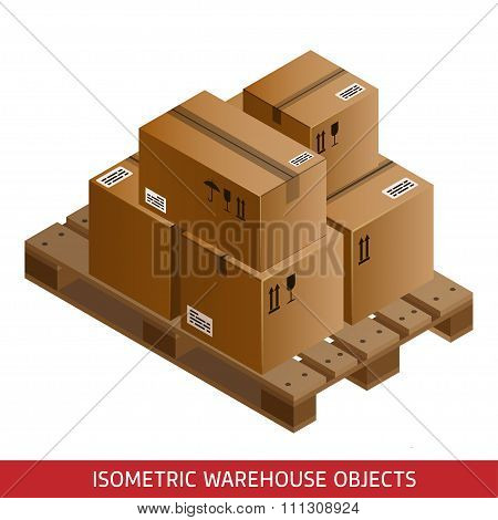 Set Of Isometric Cardboard Boxes And Pallet. 3D Warehouse Equipment. Industrial Pallets And Boxes Fo