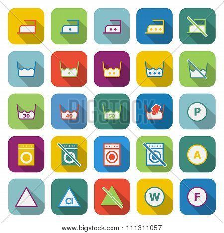 Laundry Color Icons With Long Shadow