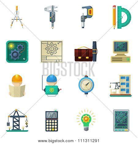 Engineer Flat Icons Set