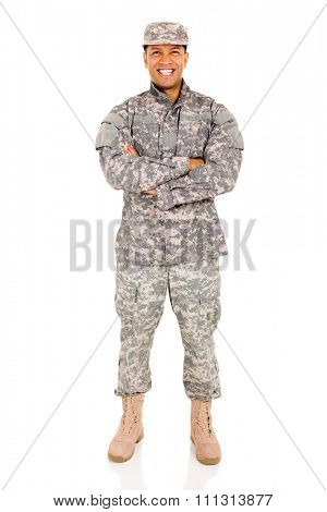 good looking patriot soldier with arms crossed