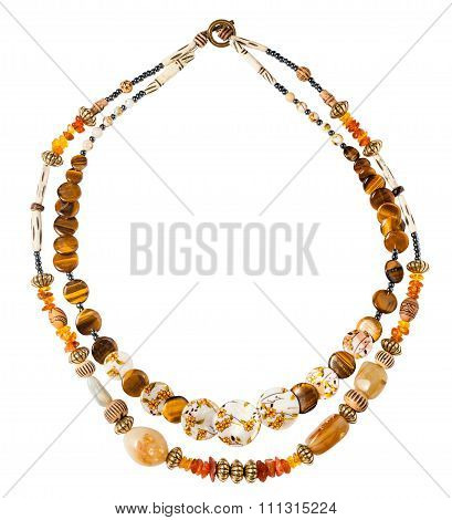 Round Necklace From Amber, Tigers Eye Beads