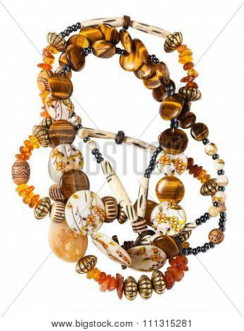 Tangled Necklace From Amber, Tigers Eye Beads