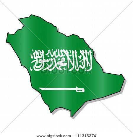 Saudi Arabia flag map