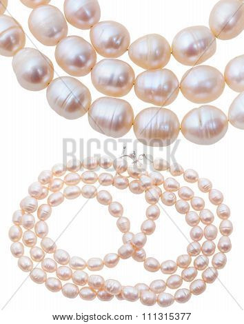 Neclace From White And Pink Natural River Pearls