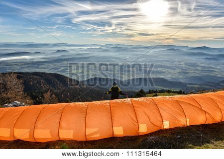 Paraglider Is Waiting For The Right Wind
