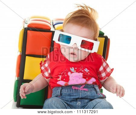 Funny Toddler With Stereoscopic Glasses