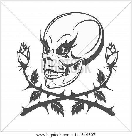 clown skull on white background