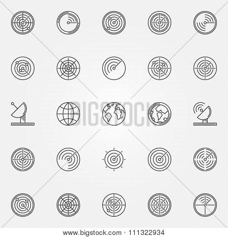 Radar icons set