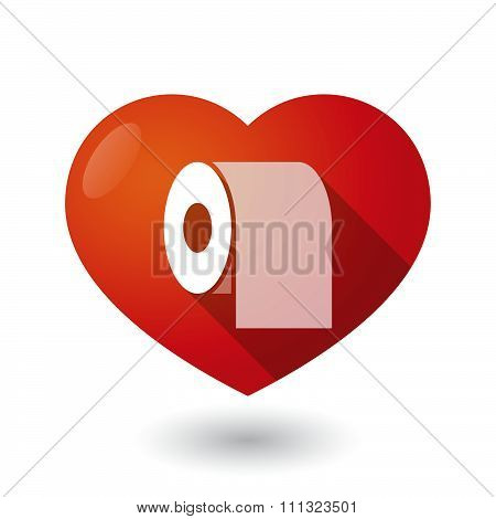 Isolated Red Heart With A Toilet Paper Roll