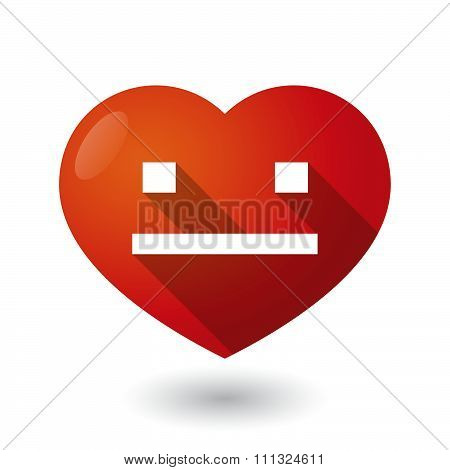 Isolated Red Heart With A Emotionless Text Face