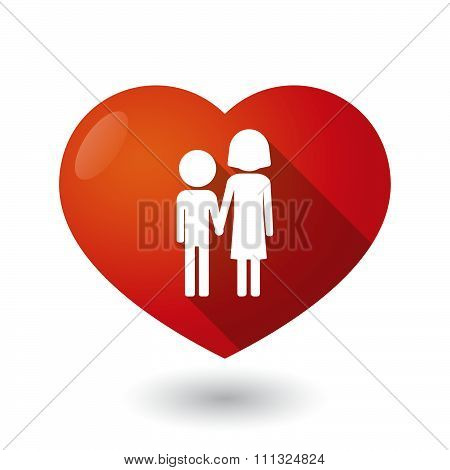 Illustration of an isolated red heart with a childhood pictogram poster