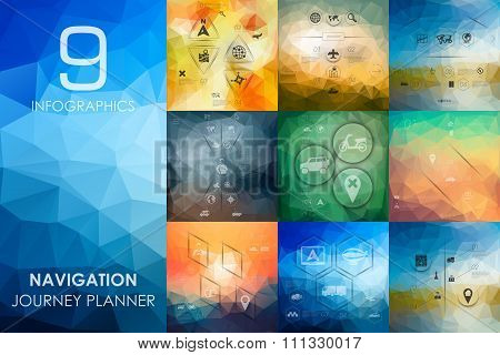 navigation infographic with unfocused background
