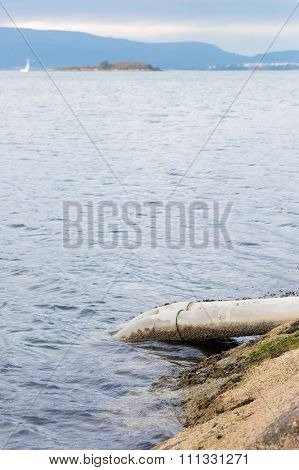 pipe for draining sewage into the ocean