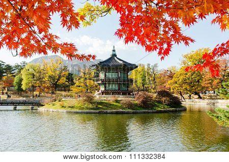 Autumn of Gyeongbokgung Palace in Seoul ,Korea