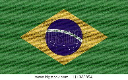 Flags Brazil On Denim Texture.