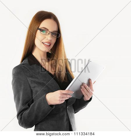 Portrait Of A Young Business Woman Working