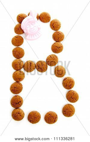 Ginger Nuts, Pepernoten, In The Shape Of Letter B Isolated On White Background