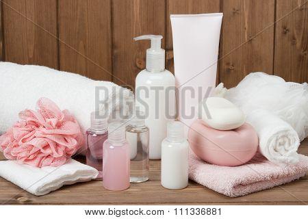 Spa Kit. Shampoo Soap Bar And Liquid. Toiletries poster