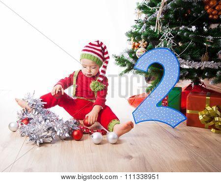 Baby Boy Dressed As Elf