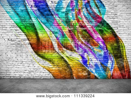 Abstract Colorful Graffiti On Brick Wall