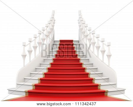 Staircase With Red Carpet. 3D Illustration.
