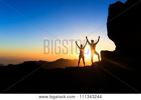 Couple Teamwork People, Inspiring Success In Mountains