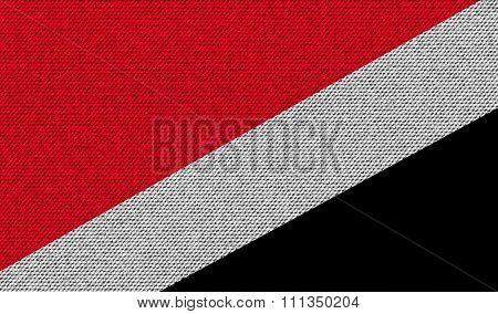 Flags Sealand Principality On Denim Texture.