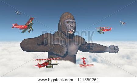 Biplanes attack a giant gorilla
