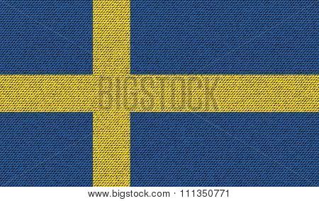 Flags Sweden On Denim Texture.