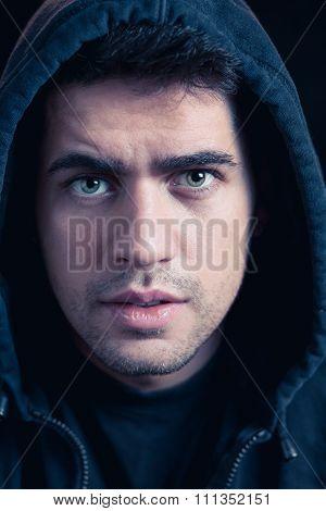 Young Male Hacker In Hoody