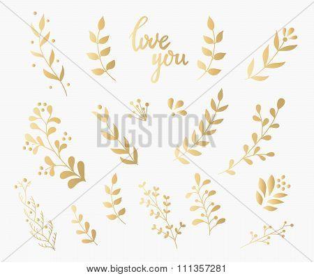 Flourish Ornate Decoration Gold Ink Calligraphy