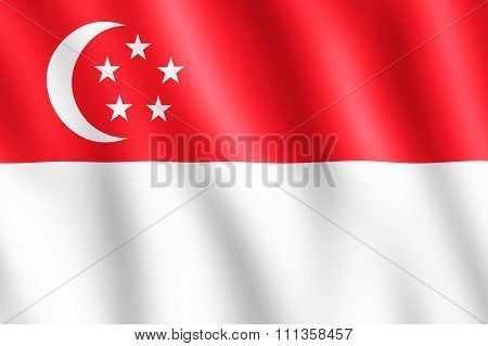 Flag Of Singapore Waving In The Wind