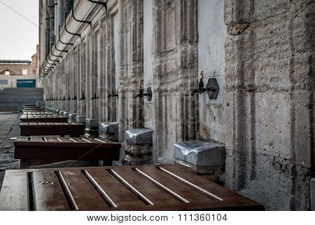 Suleymaniye Mosque in Istanbul, Turkey. Places for ritual ablution.