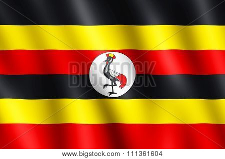 Flag Of Uganda Waving In The Wind