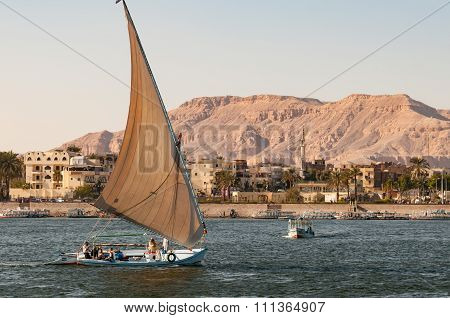 A Felucca On The Nile Near Luxor