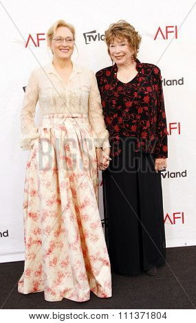 Meryl Streep and Shirley MacLaine at the 40th AFI Life Achievement Award Honoring Shirley MacLaine held at the Sony Studios in Los Angeles, United States, 070612.
