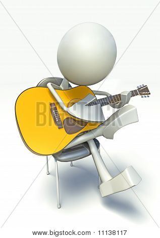 3D Character Playing On Acoustic Guitar