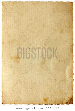 picture of vintage blank paper with grunge border - isolated on white background poster