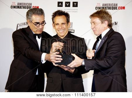 Eugene Levy, Ben Stiller and Martin Short at the 26th American Cinematheque Award Honoring Ben Stiller held at the Beverly Hilton Hotel in Los Angeles, California, United States on November 15, 2012.