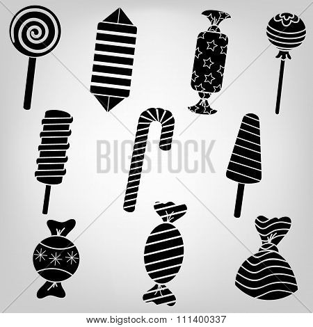 Silhouette Set Of Sweet Candy