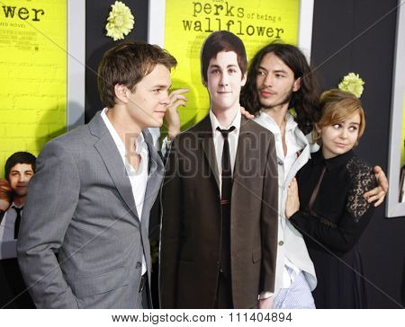 Johnny Simmons and Ezra Miller at the Los Angeles premiere of