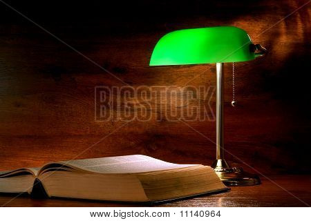 Antique Library Study Book Under Banker's Lamp Light