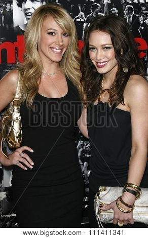 Haylie Duff and Hilary Duff attend the