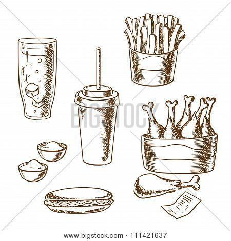 Fast food snacks and drinks sketch icons