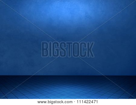 Empty blue grunge room background