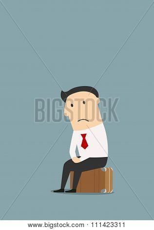 Unemployed cartoon businessman after dismissal