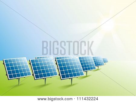 Solar power. Solar panels in field