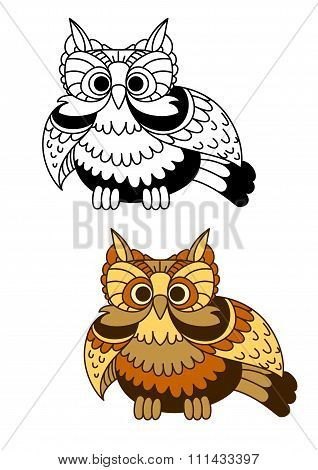 Cartoon striped owl with flapping wings